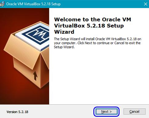 Первый этап установки ВиртуалБокс