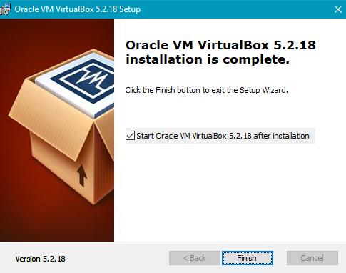 Завершение установки ВиртуалБокс