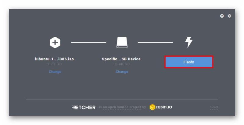 Запись Lubuntu 18.10 с помощью Etcher