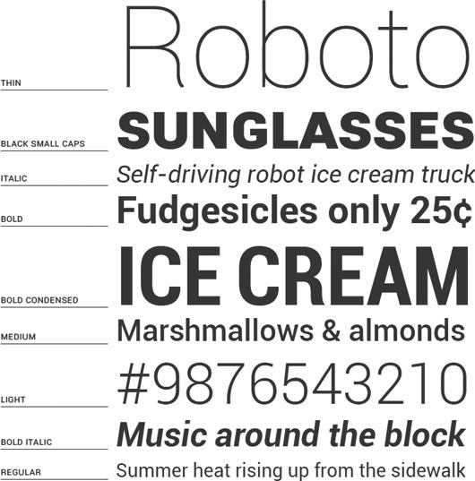 Начертания шрифта Roboto