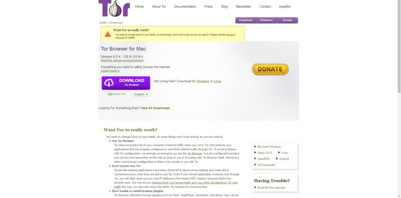 Страница с загрузкой Tor