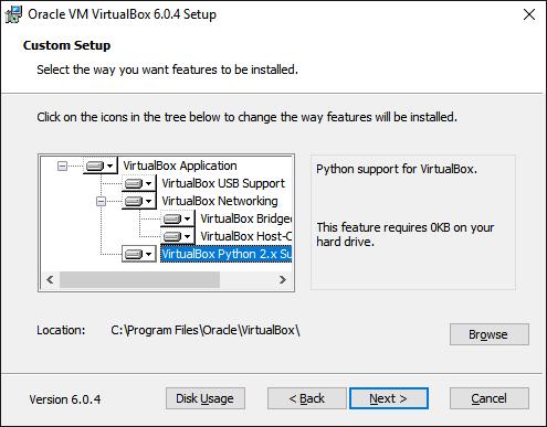 Выбор компонентов VirtualBox