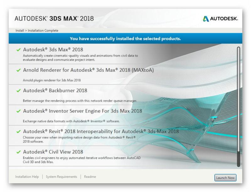 Завершение установки 3ds Max