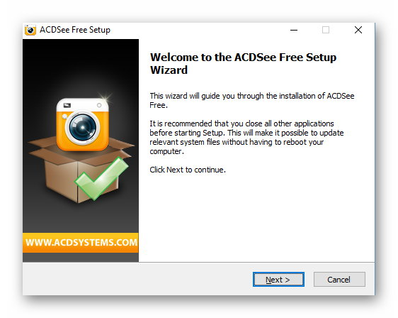 Окно установки ACDSee Free