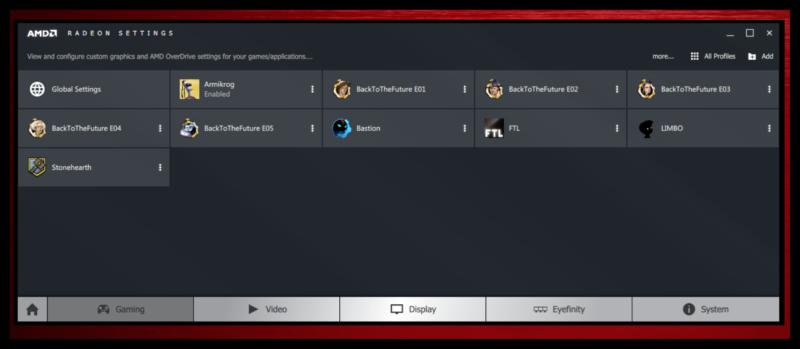 Раздел игры в AMD Catalyst