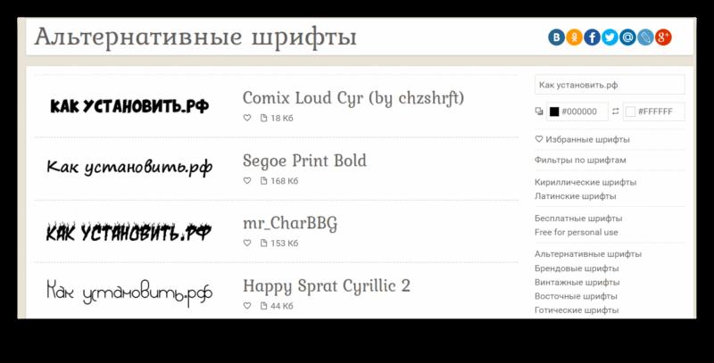 Пример работы редактора шрифтов