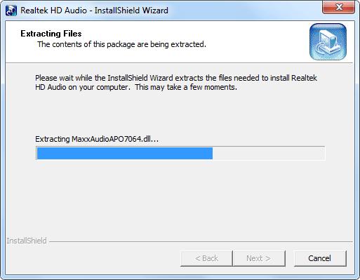 Распаковка архива с файлами Realtek HD Audio для Windows
